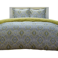 Full/Queen 100% Cotton Damask 3 Piece Comforter Set in Yellow / Blue