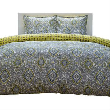 King Size 100-percent Cotton Damask 3 Piece Comforter Set in Yellow / Blue