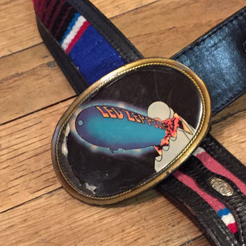RARE 1977 Led Zeppelin Belt Buckle on Southwestern Vintage Black Leather Belt | Led Zeppelin Rock n Roll 70s Memorabilia Unique Leather Belt