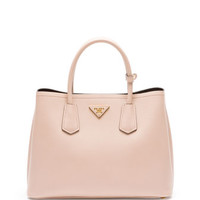 Prada Saffiano Cuir Small Double Bag, Blush (Cammeo)