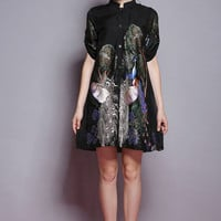 Printed Mandarin Collar Half Sleeve Pleated A-Line Mini Dress