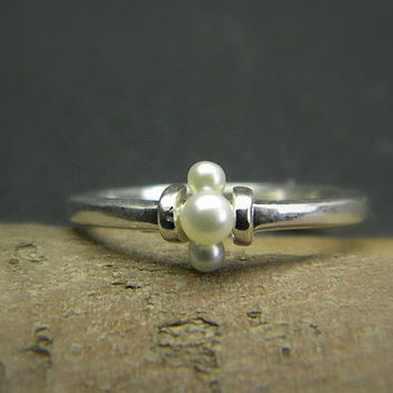 Sterling silver pearl stacking ring - dainty stack ring - handmade pearl jewelry - ring size 6 .25 , June birthstone