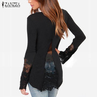 Spring Autumn New Women Shirts O-Neck Long Sleeve Lace Patchwork Casual Slim Blouse Tops blusa feminina 3 Colors