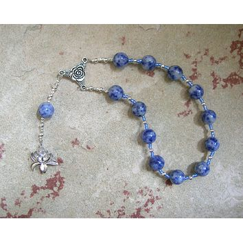Hera Pocket Prayer Beads in Blue Agate: Greek Goddess of the Heavens, Marriage, Queen of Olympus