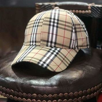Burberry Fashion Women Men Retro Casual Plaid Sports Sun Hat Baseball Cap Hat I-Great Me Store