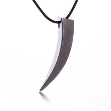 HCXX Men Stainless Steel Wolf Tooth Spike Pendant Necklace