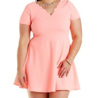 Plus Size Neon Coral Scalloped V-Neck Skater Dress by Charlotte Russe