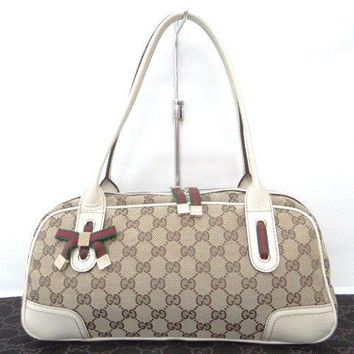 Auth GUCCI Princy Boston Hand Bag Sherry Line GG Canvas Beige 07141147900 jF