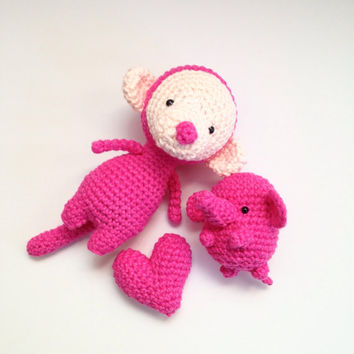Amigurumi Monkey Amigurumi Elephant Heart Set Crochet Monkey Crochet Elephant Crochet Doll Stuffed Animal Plush Best Friends Kawaii Gift