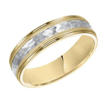 18k yellow gold and platinum 6mm wide mens 3-band style hammered wedding band