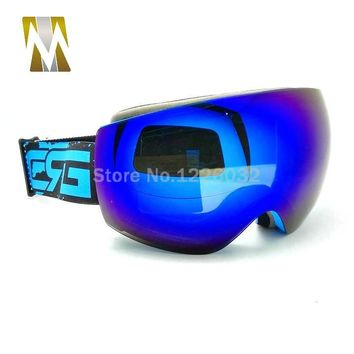 Blue Lens ski goggles glasses motocross motorcycle dual lens uv400 anti-fog goggle skiing snowboard eyewear skating google