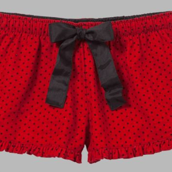 Red Dotted Swiss VIP Bitty Boxer with Ruffled Hem.  100% Cotton Flannel.  XS-XL.