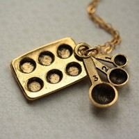 Bakers Cupcake Necklace in Gold on 14kt Chain by FreshyFig on Etsy