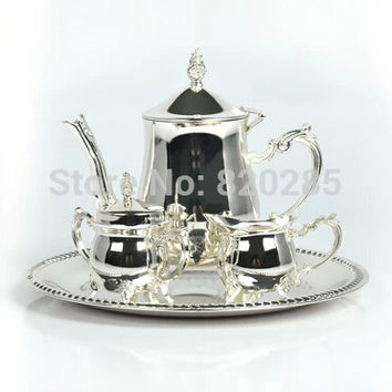 top rated shiny silver plated metal coffee set/tea set for weddings or party or event