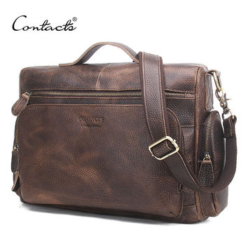 Genuine Leather Men Bag Vintage Totes Handbags Men Messenger Bags Briefcase Men's Travel Bags Shoulder Bag