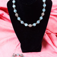 Vintage 90's Silver & Blue Marble Like Bead Necklace With Matching Bracelet