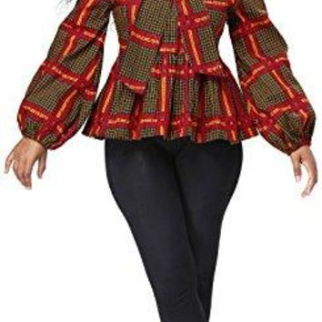 Women African Print Top Dsahiki Long Sleeves Shirt