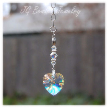 Crystal Heart Rearview Mirror Car Charm Aurora Borealis Swarovski Crystals
