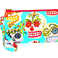 Sweet Candy Skull Wristelt, Cell phone wallet, small purse, Iphone 6 wrislet, small clutch