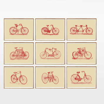 Vintage Bicycle Art Print SET of 9. UNFRAMED. A4. bicycle artwork, bicycle prints, bicycle poster, bicycle illustration, bicycle wall art