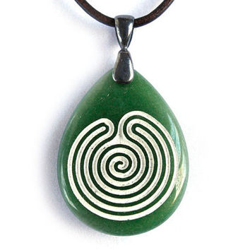 Chakravyuha Labyrinth - Engraved Stone Pendant Necklace - Green Dyed Jade