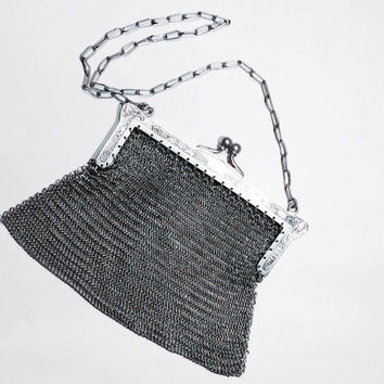 Antique Marked German Silver Mesh Mail Purse FREE SHIPPING