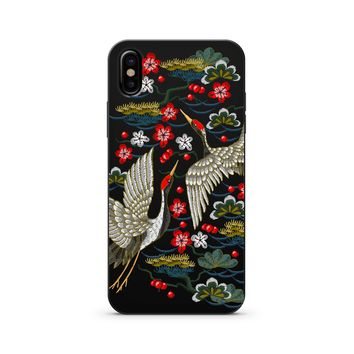 Black Wood Printed - Japanese Cranes