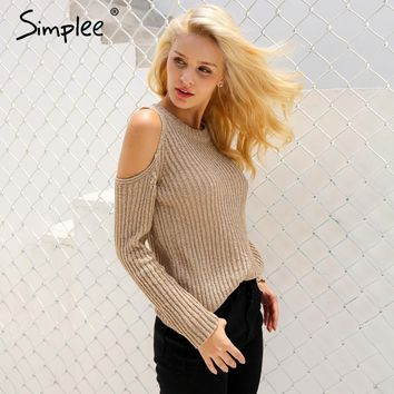 Sexy cold shoulder knitted winter sweater Women elegant long sleeve sweater pullover winter casual jumper