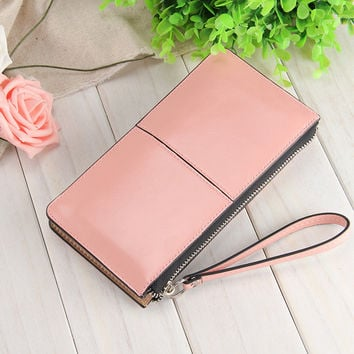 Women Dot Fashion Patent Leather Bag Wallets High Quality Lady Clutch Phone Wallets Women Vintage Coin Zipper Pockets Purses