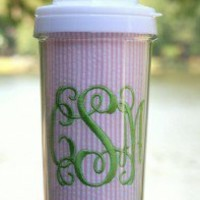 Seersucker Tall Tumbler Straw Cup ~Monogrammed TinyTulip.com We're All About Personalization - Gifts Monogram Embriodery