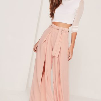Missguided - Split Front Palazzo Trousers Tie Belt Pink