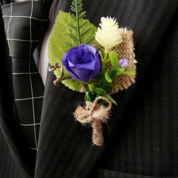 Purple Boutonniere, Burlap Lapel Pin, Groomsmen Boutonniere, Eco Wedding Boutonniere, Men Purple Lapel Flower