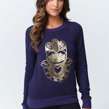 FLOWER HAMSA SLUB FRENCH TERRY SHRUNKEN RAGLAN AZUL