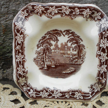 Brown Transferware Masons Vista Square Ashtray - Tray - Dish - English Transferware - Brown
