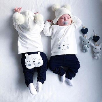 2PCS Toddler Unisex Baby Long Sleeves Cartoon Bear Top Clothes+Pants Set Outfit