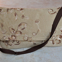 beautiful embroidered messenger bag, laptop bag - semi-padded, tan suede with aqua floral lining and adjustable strap