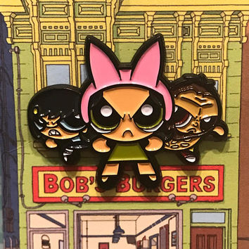 Bob's Burgerpuff Girls enamel pin (Bob's Burgers x Powerpuff girls)