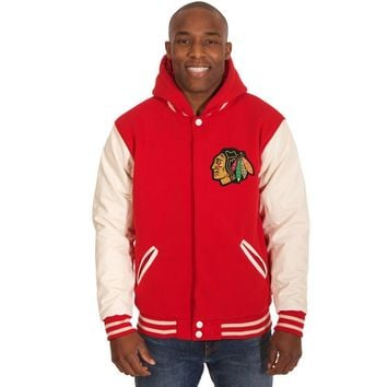 Chicago Blackhawks Fleece/Faux Leather Hoodie Jacket - Red