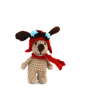 aviator dog, crochet dog, puppy with aviator hat, handmade miniature dog, tiny dog creature, cartoon character, dog doll, little puppy, gift