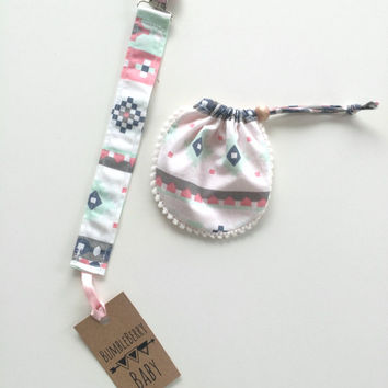 Pink Aztec Binky Clip and Pouch