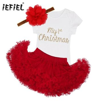 2017 Newborn baby infant girls Kids My first Christmas outfits Romper Jumpsuit with Tutu Skirt Dress Party Birthday Costume