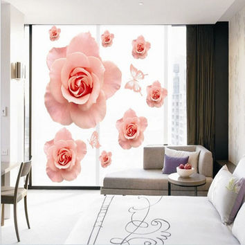 Romantic rose The bedroom background to stick The third generation mobile wall household adornment wall stickers SM6