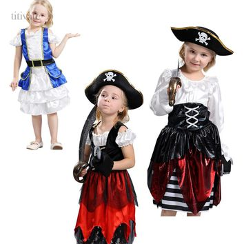 Titivate Hollywood Pirates of the Caribbean Girls Costume Children Halloween Party Performance Cosplay Fancy Dress Uniform M-XL