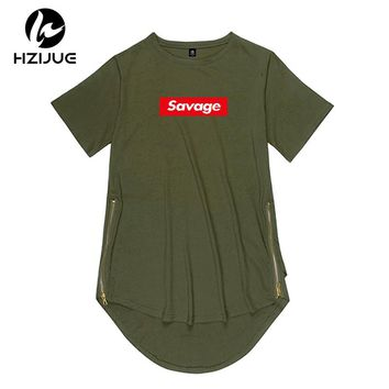 2018 new brand Side Zipper Extended Man Mens Hiphop Long oversized T Shirt Top Tees savage Hip Hop Style Clothes Clothing KANYE