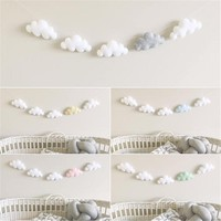 5PC/Set Simple Cloud Garland Ornament Kid's Bedroom Hanging Wall Baby Mobile Gifts Newborn Toys Baby Mobile Crib Baby Bed Bell