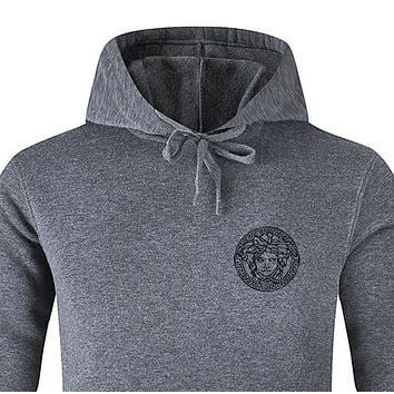 Versace Fashion New Human Head Print Women Men Hooded Long Sleeve Top Sweater Dark Gray