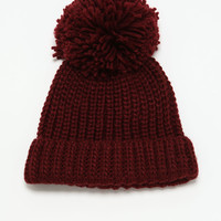 Burgundy Cotton Ball Beanie