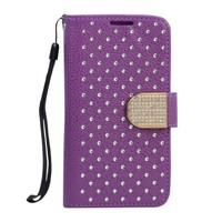 Bedazzled Flip Leather Wallet Case with Strap (Purple)