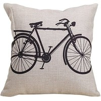 "Moya Cotton Linen Square Throw Pillow Case Decorative Cushion Cover Pillowcase for Sofa Bicycle 18 ""X18 """