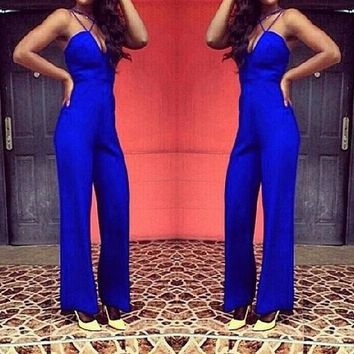 Blue Zipper Spaghetti Strap Cleavage Backless High Waisted Long Jumpsuit